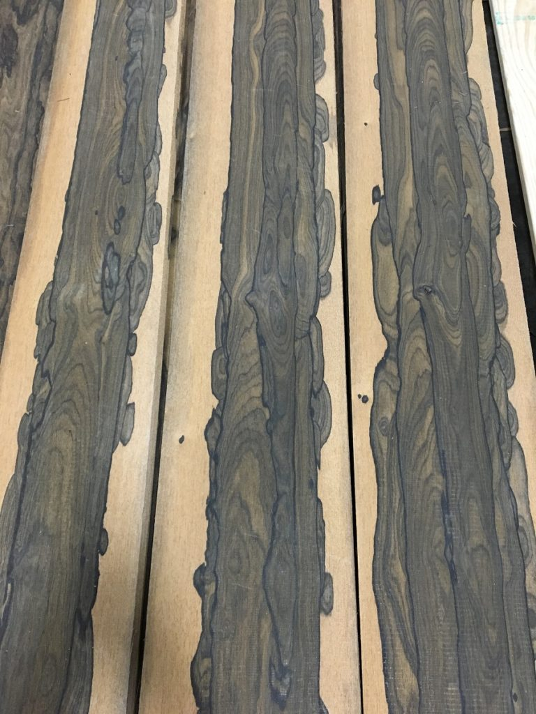 A sampling of Ziricote with exceptional sapwood and deep brown heartwood.