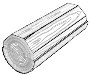 "A diagram showing a flatcut log and it's resulting ""cathedral"" grain structure."