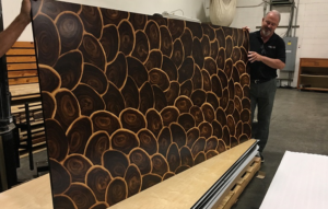 4' by 8' Oyster Shell wood veneer panel in Fumed Larch.